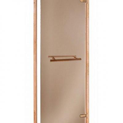 Дверь стеклянная бронза Andres SCAN 70х190 см. с гориз. ручкой
