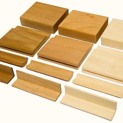 Комплект образцов деревянных материалов разных пород дерева для бань, мини