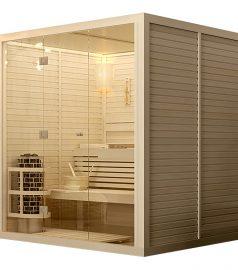 Щитовая сауна 2,0х2,0 м. фасад стекло, отделка липа