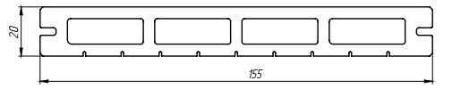 Размер террасной доски «Lite Premium» Террасная доска 155 х 20 х 2200 мм.