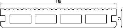 Террасная доска 150 х 25 х 2200 мм.