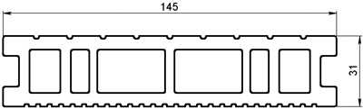 Размер терасной доски Classic Home 31x145 мм