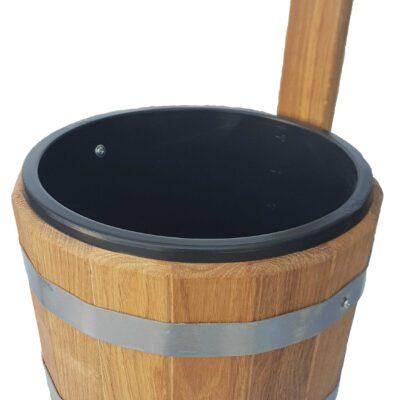 Шайка для бани с пластиковой вставкой, дуб 5л